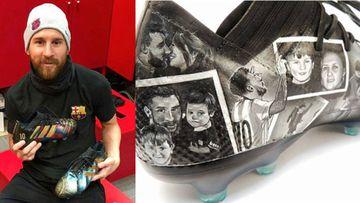 Imágenes de Lionel Messi con las botas personalizadas que le ha hecho Lili Cantero, una artista paraguaya, y de una de ellas en la que se ve algunas de las imágenes que ha plasmado.