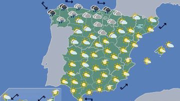 GRA086. MADRID, 17/11/2016.- Mapa significativo elaborado por la Agencia Estatal de Meteorología (AEMET) el 17/11/2016, válido para el 18/11/2016 de 0 a 12 horas. EFE/