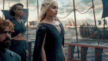 Daenerys Targaryen con Tyrion Lannister, Juego de Tronos.