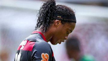 Ronaldinho durante un partido con el Flamengo.