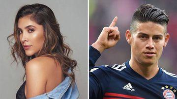 Imágenes de Daniela Ospina en un posado promocional y de James Rodríguez en un partido con el Bayern Múnich.