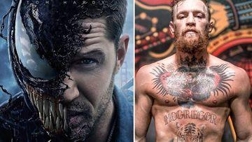 """Imágenes del cartel de la película """"Venom"""" y del luchador irlandés Conor McGregor"""
