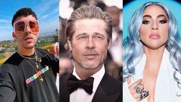 Imagen de Bad Bunny, Brad Pitt y Lady Gaga.