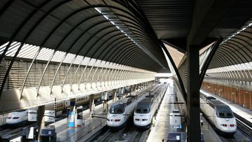 High-speed AVE trains stand idle at Santa Justa's train station in Seville April 2, 2004. A bomb containing between 10 and 12 kgs (22 and 26 lbs) of explosives has been found on the high-speed train track linking Seville to Madrid, near the Spanish city of Toledo on Friday. REUTERS/Marcelo Del Pozo MDP/JV - RTRGLKE