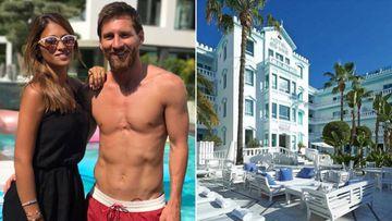 Imágenes de Leo Messi en bañador con Antonella Roccuzzo durante sus vacaciones de verano 2017 y del hotel Es Vivé de la playa de Ses Figueretes de Ibiza que ha comprado para ampliar su marca hotelera MiM