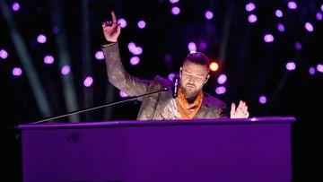 MINNEAPOLIS, MN - FEBRUARY 04: Recording artist Justin Timberlake performs onstage during the Pepsi Super Bowl LII Halftime Show at U.S. Bank Stadium on February 4, 2018 in Minneapolis, Minnesota. (Photo by Jeff Kravitz/FilmMagic)