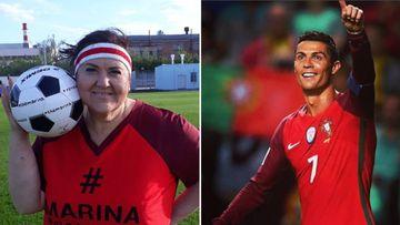 Imágenes de Marina Bogomolova, la fan rusa de Cristiano Ronaldo que ha adelgazado 90 kilos para cumplir su sueño de conocerle, y de Cristiano Ronaldo celebrando un gol con Portugal.
