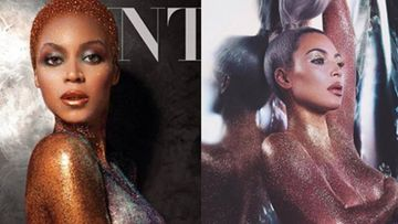 Los posados de Beyoncé y Kim Kardashian desnudas y cubiertas en purpurina.