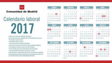 La Comunidad de Madrid ha aprobado su calendario laboral 2017 con doce días festivos y dos fiestas de carácter local.