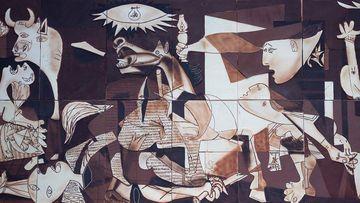 Representación del Guernica en chocolate.