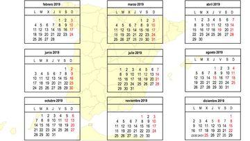 Calendario Laboral 2019: festivos y puentes.