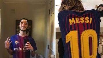 Imágenes del hijo de José Mourinho, José Jr., exhibiendo su barcelonismo