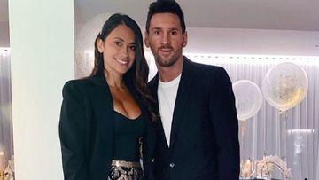 Imagen de Antonela Roccuzzo y Leo Messi.
