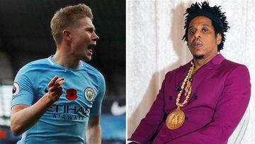 Imágenes del futbolista Kevin De Bruyne celebrando un gol con el Manchester City y del rapero estadounidense Jay-Z.