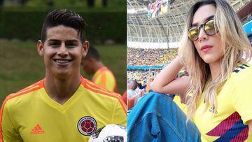 Imágenes de James Rodríguez y de Daniela Ospina con la camiseta de la selección de Colombia.