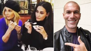 Imágenes de Marta Sánchez con Vicky Martín Berrocal al ver a Zinedine Zidane y del exfutbolista y entrenador francés del Real Madrid.