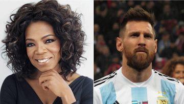 Imágenes de la comunicadora y actriz estadounidense Oprah Winfrey y del futbolista Lionel Messi como capitán de la selección argentina