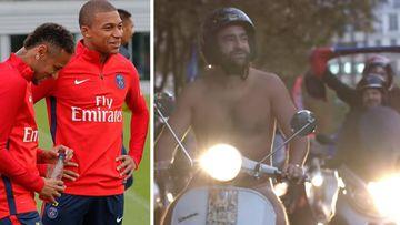 Imágenes de Neymar y Mbappé en un entrenamiento del PSG y de Jonathan, un aficionado del club parisino cumpliendo su apuesta: bajar los Campos-Eliseos de París desnudo con su moto si se cumplían sus fichajes