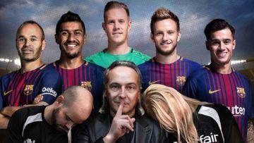 El famoso hipnotista Jeff Toussaint con los futbolistas del Barcelona Andrés Iniesta, Paulinho, Marc-André Ter Stegen, Ivan Rakitic y Philippe Coutinho y dos aficionados culés hipnotizados