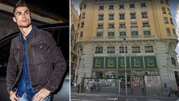 Imágenes de Cristiano Ronaldo promocionando su marca CR7 Jeans del edificio de Gran Vía donde va a abrir su hotel CR7 Pestana Madrid.