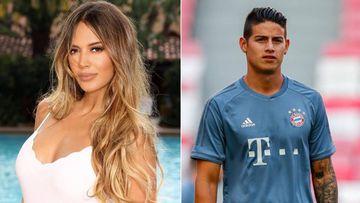 Imágenes de la modelo venezolana Shannon de Lima posando al lado de una piscina y del futbolista colombiano James Rodríguez durante un entrenamiento con el Bayern Múnich