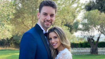 Pau Gasol y Catherine McDonnell en su segunda boda en España.
