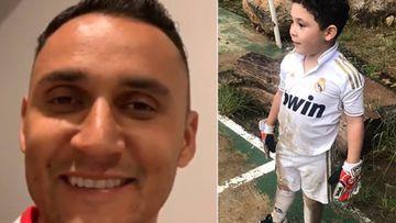 Imágenes de Keylor Navas y del hijo del futbolista guatemalteco Jean (Jonathan) Márquez, Fabián Márquez, de portero y con la camiseta del Real Madrid.