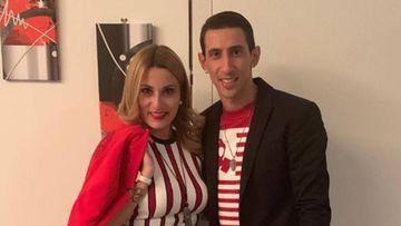 El futbolista argentino Ángel Di María con su mujer, Jorgelina Cardoso.