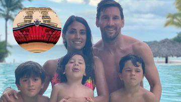 Imagen de Antonela Roccuzzo, Leo Messi, Thiago, Mateo y Ciro.