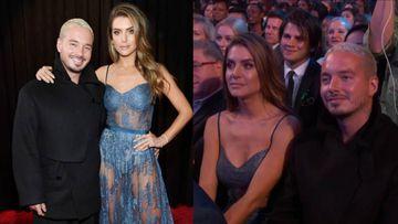 J Balvin en compañía de la modelo argentina Valentina Ferrer durante la ceremonia de los Premios Grammy 2019.