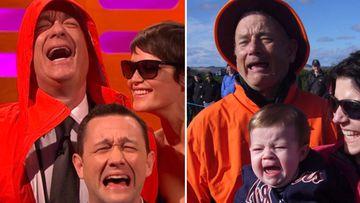 Tom Hanks imitando con Joseph Gordon-Levitt y Gemma Arterton la fotorafía viral en la que le confundian con Bill Murray.