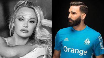 Imágenes de la actriz y activista canadiense Pamela Anderson posando y del futbolista francés Adil Rami con la camiseta del Olympique de Marsella.