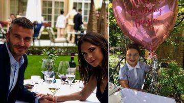 Imágenes de David y Victoria Beckham celebrando su 19º aniversario de bodas y de su hija pequeña, Harper Seven, con un globo el día de su séptimo cumpleaños.