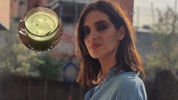 Imagen de Sara Carbonero y su 'zumo de Hulk'.