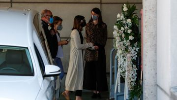 Alba Santana and Manolo Ximenez during burial of Mila Ximenez in Madrid on Thursday, 24 June 2021.