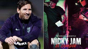 """Imágenes de Lionel Messi sonriendo durante un entrenamiento y del cartel de la serie de Netflix sobre Nicky Jam, """"Nicky Jam: El Ganador""""."""