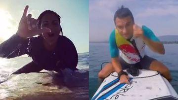 Lara Álvarez reta a Dani Pedrosa a un duelo de surf.