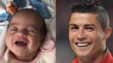 El gran parecido entre Cristiano Ronaldo y su hija Alana Martina. Foto: Instagram